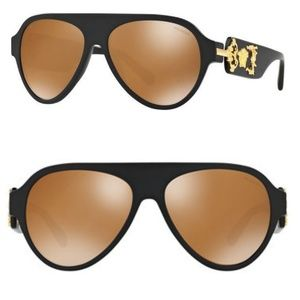 Versace VE43223 Matt Black Medusa Pilot Sunglasses